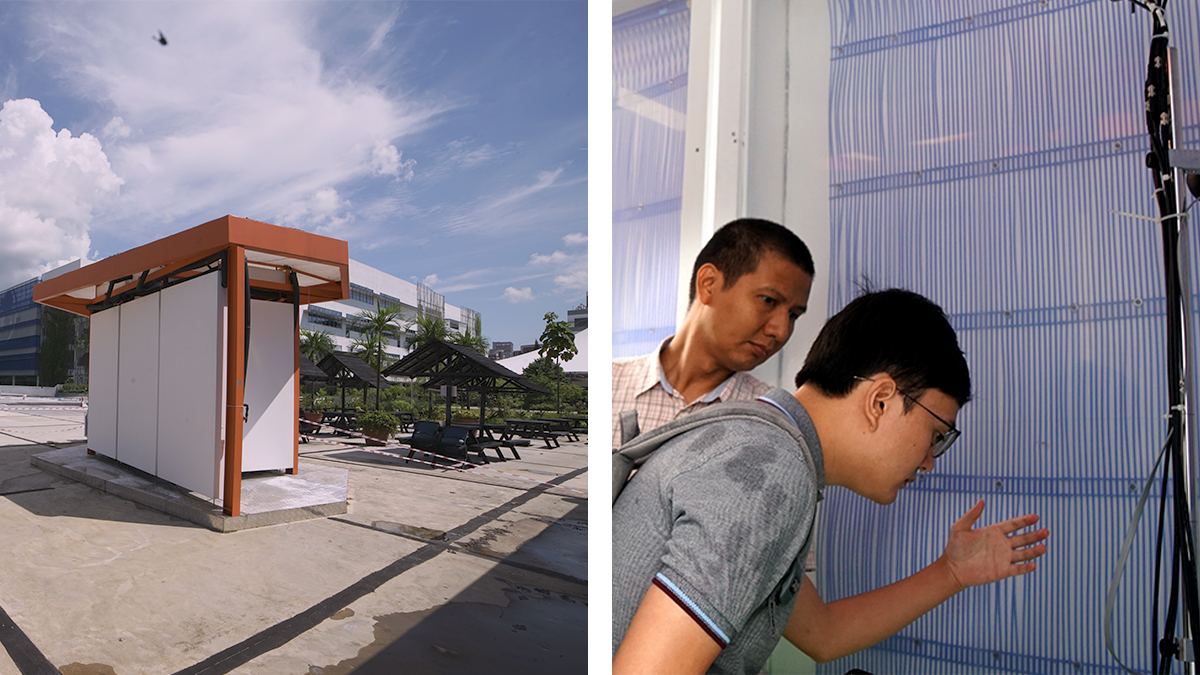 Researchers constructed a small pavilion in Singapore, left, with technology that can cool inhabitants without the need for any air conditioning. A participant at the 2019 opening of the demonstration, right, leans in to examine the radiant cooling pipes inside the pavilion. (Photos provided by the researchers)