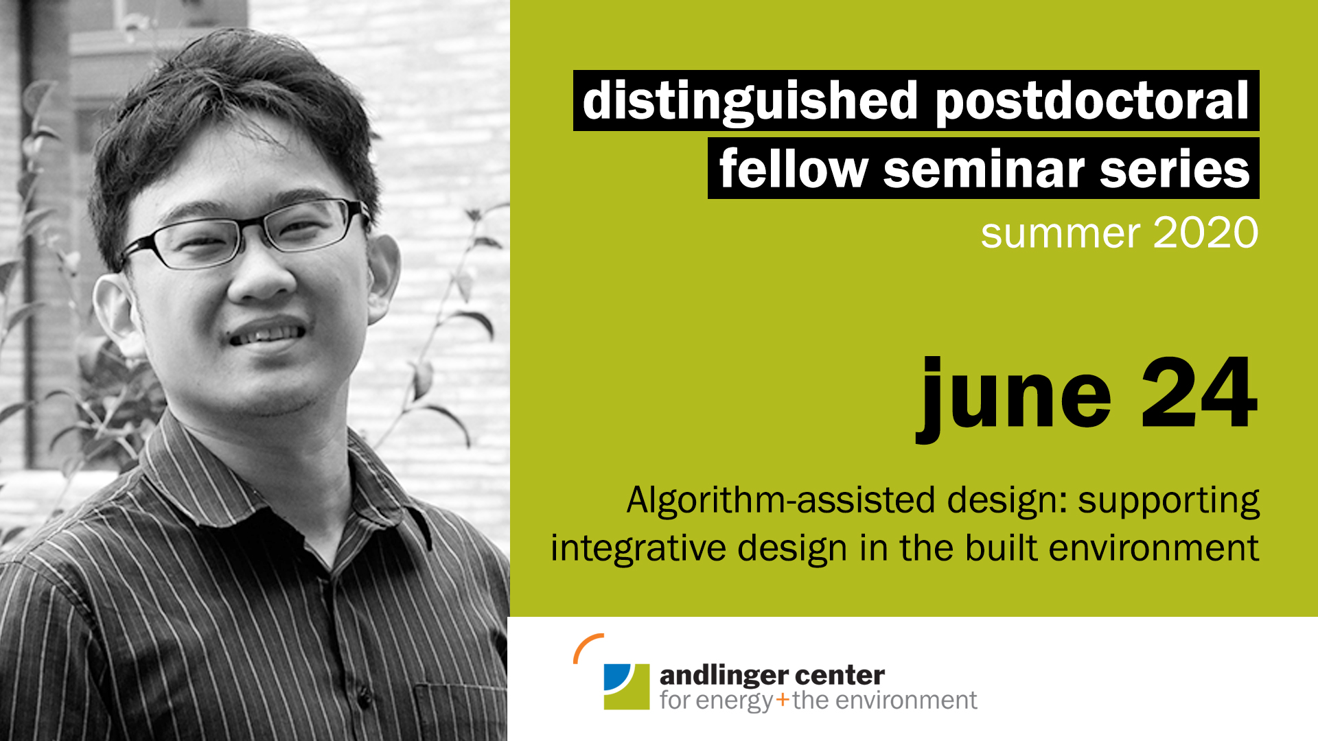 """June 24 at 2pmChen's research focuses on the development and use of digital tools to support the integrative design process for the built environment. Recently, he has extended his research to include using low-cost sensors and IoT devices in prototyping building design with innovative cooling and heating systems. Chen plans to further his research through developing collaborative tools that enable timely access to data and models to support multidisciplinary research/design of the built environment.Website 