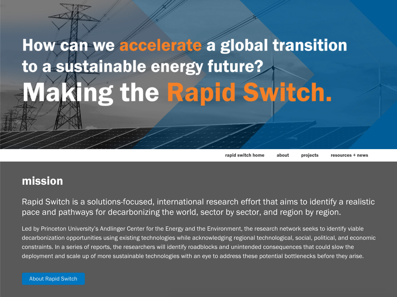 Explore Rapid Switch - the global decarbonization initiative spearheaded by the Andlinger Center