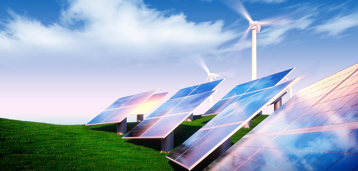 Illustration of solar panels and wind turbines