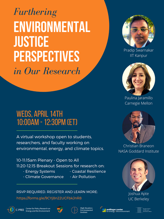 This workshop will focus on helping Princeton faculty, postdoctoral researchers and Ph.D. candidates working on environmental, energy and climate topics integrate environmental justice perspectives into their research. April 14.