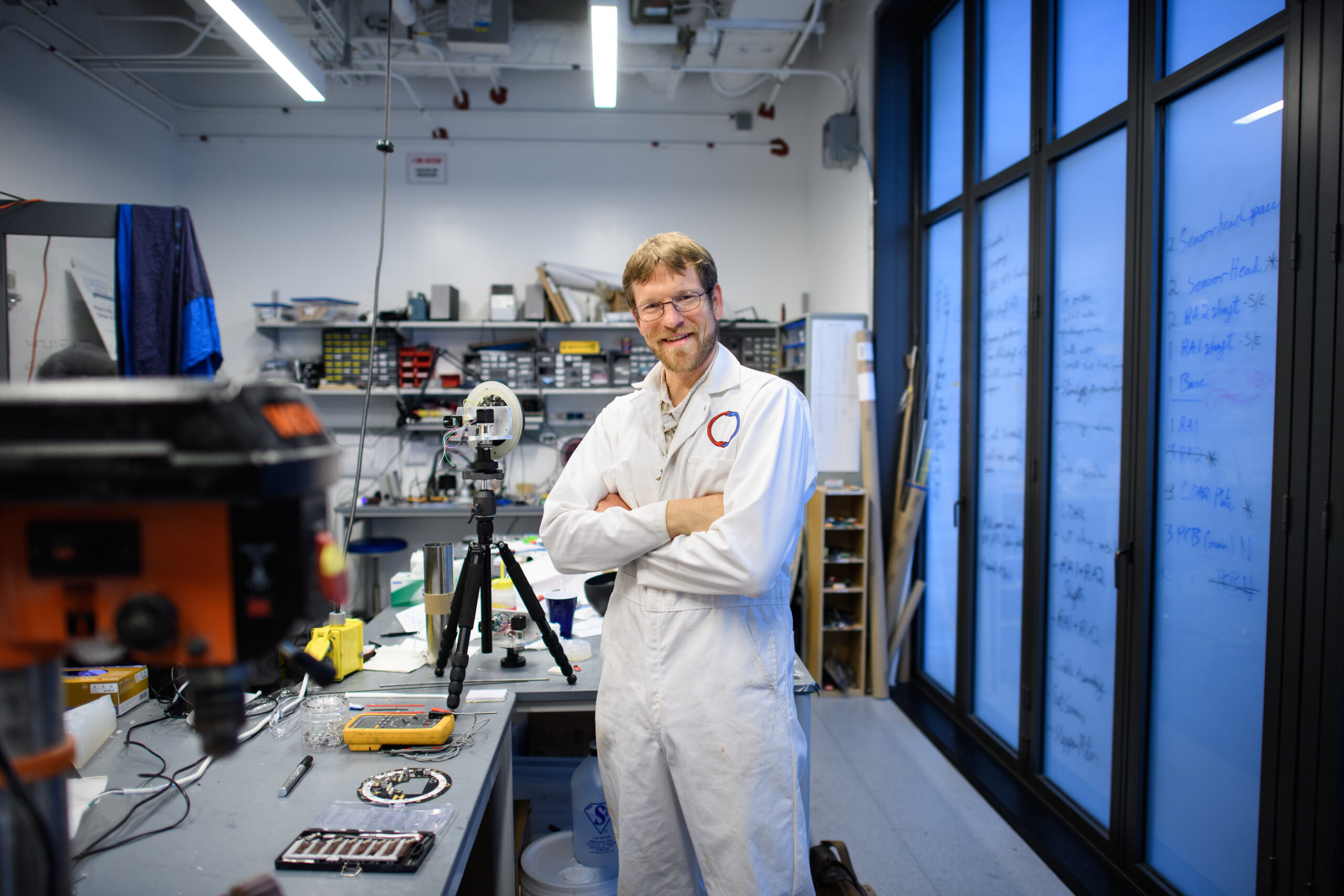 Forrest Meggers at his lab at the Andlinger Center. (Photo by Sameer A. Khan / Fotobuddy)