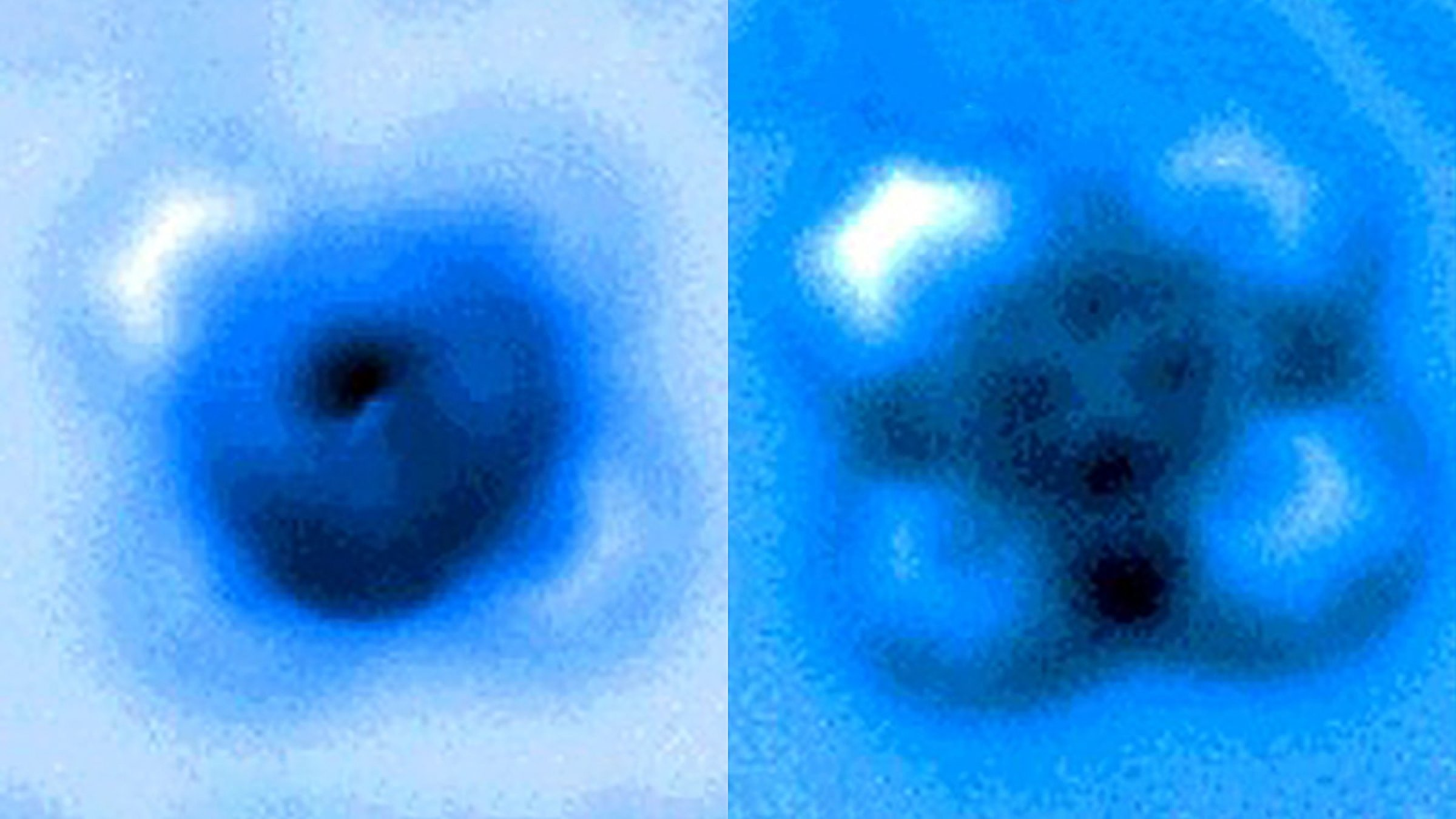 Researchers measured the mechanical forces applied to break a bond between carbon monoxide and iron phthalocyanine, which appears as a symmetrical cross in scanning probe microscope images taken before and after the bond rupture. (Pengcheng Chen et al.)